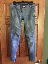 Balmain Blue Distressed Knee Embroidered Denim Jeans Pants FR38