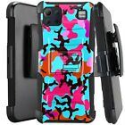 Holster Case For LG K92 5G (2020) Kickstand Phone Cover - TEAL STYLISH CAMO