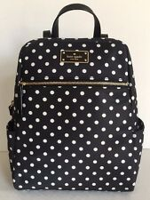 NWT Kate Spade Hilo Blake Avenue Nylon Backpack Handbag Black / Diamond Dot