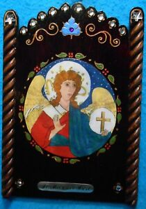 """Archangel St. Michael Bust Retablo -""""Patron of Law Enforcement"""""""