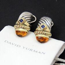 NYJEWEL David Yurman 14k Solid Gold Sterling Silver Citrine Tourmaline Earrings