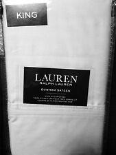 Ralph Lauren Dunham Sateen Pair KING Pillowcases AZURE BLUE Free Ship NIP Set/2