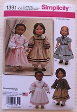 "18"" GIRL DOLL CLOTHES Simplicity Sewing Pattern 1391 American Made NEW Uncut"
