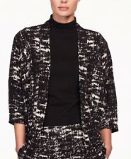 Kimono Cardigan Top Blazer Cubierta Negra Manga 3/4 Talla Grande 2XL 24 26 UE 50 52