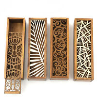 4 Styles Hollow Wood Pencil Case Jewelry Storage Box Creative Wooden Drawer
