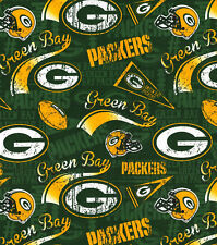 NFL GREEN BAY PACKERS  RETRO PRINT 100% COTTON  FABRIC BY THE 1/2 YARD