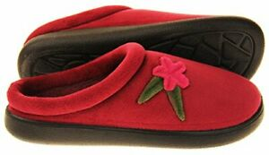 Coolers Womens Burgundy  Velour uppers Floral Mule Slippers size various New