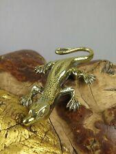 Vintage Solid Brass Lizard Salamander Geko Paperweight Ornament