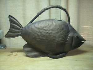 Antique / Vintage Large Metal Fish Watering Can Pot For Plants Copper?