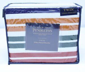 NEW Pendleton Twin Flannel Sheet Set 3 Piece Cotton Washable Pine Island Multi