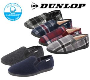 Men's Dunlop Warm Fleece Lined Wide Fit Memory Foam Plush Moccasin Slippers