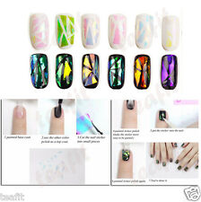18 pcs Candy Colors Broken Glass Mirror Shattered Nails Foil Decal Stickers Tips