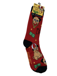 Pawty Animal Pug Life Theme One Pair Fun Crew Socks