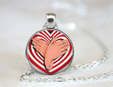 ASL Butterfly Tibetan silver Dome glass Art Photo Chain Pendant Necklace