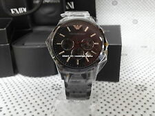 100% Authentic ARMANI Wristwatch LUX Black IP Plated Chronograph Men's AR2453