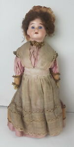 """ULTRA RARE 12 ½"""" WALKING DOLL ANTIQUE BISQUE HEAD 54 6/0 SULFURE EYES"""