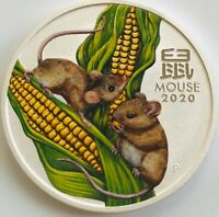 2020 Australia Lunar Year of the MOUSE Colorised 1 oz .99,99 Silver Coin