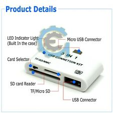 3In1 Micro USB SD Memory Card Reader OTG HUB Adapter For Android Samsung Tablet
