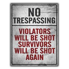 NO TRESPASSING VIOLATORS WILL BE SHOT METAL SIGN WALL PLAQUE funny poster