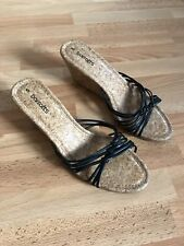 BNWOT Lovely Ladies Barratts Black Leather/Cork Wedge Heeled Sandals - Size 5