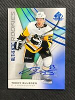 2019-20 UPPER DECK SP GAME USED TEDDY BLUEGER AUTHENTIC ROOKIE AUTO BLUE #109