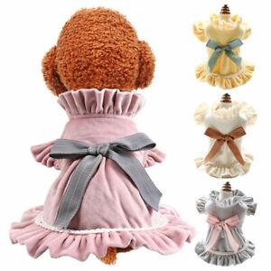 Cute Dog Dress Autumn Winter Bow Lace Princess Skirt Puppy Cat Dress Pet Costume