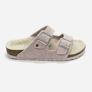 Women Birkenstock Arizona Wool Shearling Adjustable Slide Sandals Fur Lining NEW