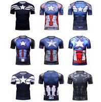 Men's Marvel Superhero Compression T Shirts Captain America Cosplay Sports Tops