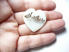 Vintage gold tone metal hand wired Moher of Pearl heart brooch
