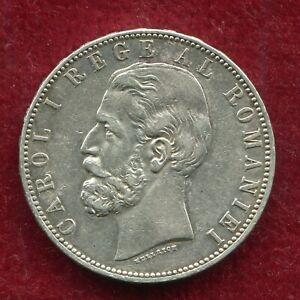 Romania 5 LEI  1883 King Carol I silver coin