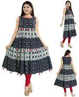 Women Indian Long Kurti Tunic Kurta Shirt Dress A-Line Cotton Printed MM189