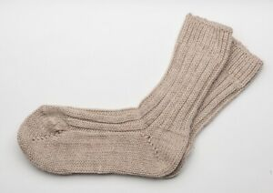 Irish Wool Socks - Beige  - Size M = UK 4-7  (EUR 37-41  /  US 5.5 -8.5)