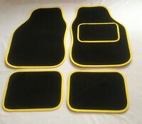 Black & Yellow Car Mats For Peugeot 106 107 206 207 307 308 309 405 Gt
