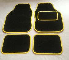Black & Yellow Car Mats For Hyundai I10 I20 I30 I40 Coupe Getz Veloster
