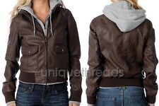 OBEY Womens JEALOUS LOVER Brown /Heather Faux Leather Hooded Bomber JACKET XS