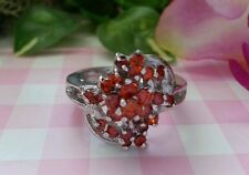 Beautiful Real Platinum Sterling Silver Ring Flower Red CZs Size 7 NEW A24