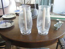 (2) AUTHENTIC TIFFANY.CLEAR GLASS CANDLESTICKS WITH HURRICANE COVERS