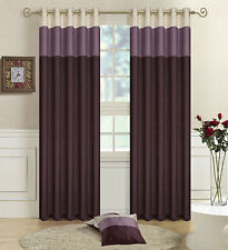 Faux Silk Lined Curtains Three Tone Bedroom Curtain Eyelet / Ring Top Tiebacks Purple. Lilac Cream 66 X 90 Yes 4 Please