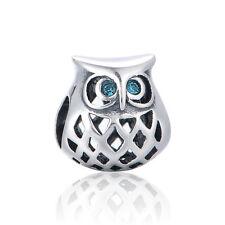 Chic Búho encanto, elegantes joyas de plata, animales encantos para Pulsera Collar