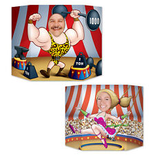 2 CIRCUS CARNIVAL Big Top Photo Props STRONGMAN TRAPEZE GIRL birthday party game