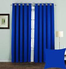 """Thermal Blackout Curtains Pair Eyelet Ring Top Draught Heat Loss Ready Made 66 X 54"""" Royal Blue"""