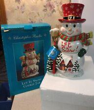 "Christopher Radko ""Let It Snow"" Snowman Cookie Jar Mib Mint Christmas"