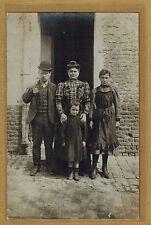 Carte Photo vintage card RPPC famille homme chapeau melon femme enfant kh0289