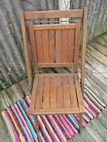 VTG Simmons Co. Patent Pending Wood Folding Slat Seat Chair Antique Made in USA