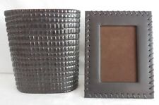 Handsome Leather Picture Frame and Textured Oval Vase, Elegant, Modern & Stylish