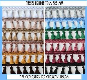 Tassel fringe edging trim sewing crafts curtains cushions furnishings 55 mm wide