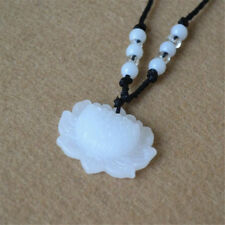 Natural White Jade Lotus Pendant Necklace Fashion Lucky Charm New