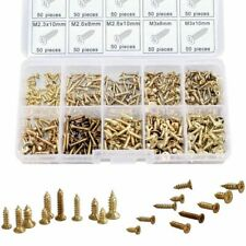 500 Piece Brass Plated Wood Screw Assortment Self Tapping Small Metal Tool New
