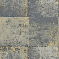 METALLIC METAL PANEL GOLD AND BLUE WALLPAPER NEW MODERN WALL DECOR FREE P+P