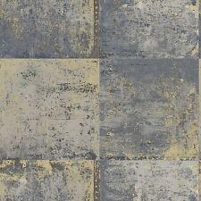 Panel de Metal Metálico Oro Y Azul Nuevos Modernos Decoración de Pared de papel pintado Gratis P + P